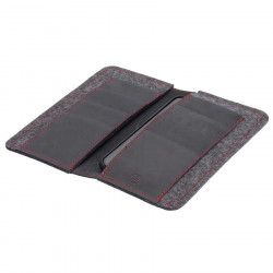 LIMITED EDITION - iPhone Wallet black leather with red stitchings