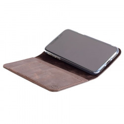 g.case iPhone XR leather folio in dark brown, black, grey and camel