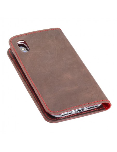 iPhone XS Max leather case in brown, black, grey and camel leather