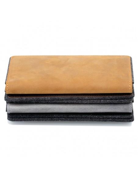 g.5 Samsung Galaxy S10e Leder Tasche in dunkel braun, hellbraun, schwarz und grau
