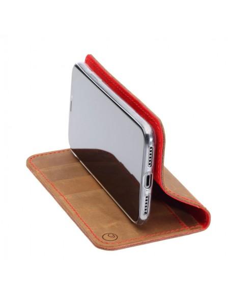 iPhone XR Leder Case– Case und Portemonnaie in dunkelbraun, camel, schwarz und grau