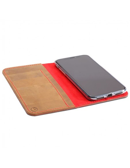 iPhone XR leather folio in brown, black, grey and camel leather