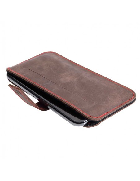 iPhone SE Lederhülle mit magnetischer Verschlusslasche / iPhone SE leather sleeve with magnetic closure