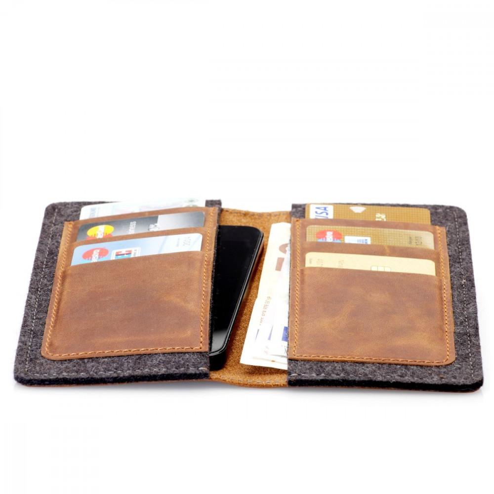 g.5 iPhone SE 2020 Wallet in grey, black. camel and dark brown