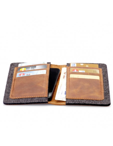 g.5 iPhone SE 2020 Wallet in grey, black. camel and dark brown