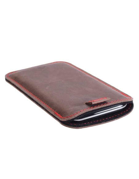 Perfect fitting iPhone 12 leather sleeve in earth, night, vintage and stone - made in Germany