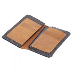 g.5 iPhone 12 wallet case  in camel, black, grey and dark brown