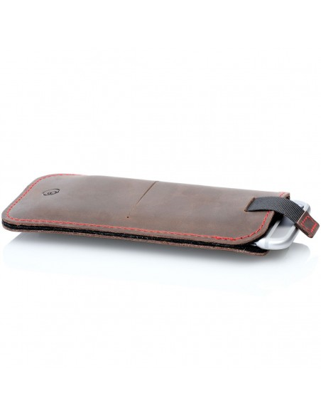 g.4 iPhone 12 Mini leather sleeve from leather in camel, dark brown, grey and black