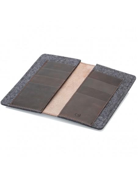 g.5 iPhone 12 Max Brieftaschen-Etui Leder in dunkel braun, hellbraun, schwarz und grau