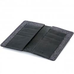 g.5 iPhone 12 Mini Brieftaschen-Etui Leder in dunkel braun, hellbraun, schwarz und grau
