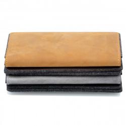 g.5 iPhone 12 Brieftaschen Etui Wallet in Leder schwarz, grau, dunkelbraun und hellbraun