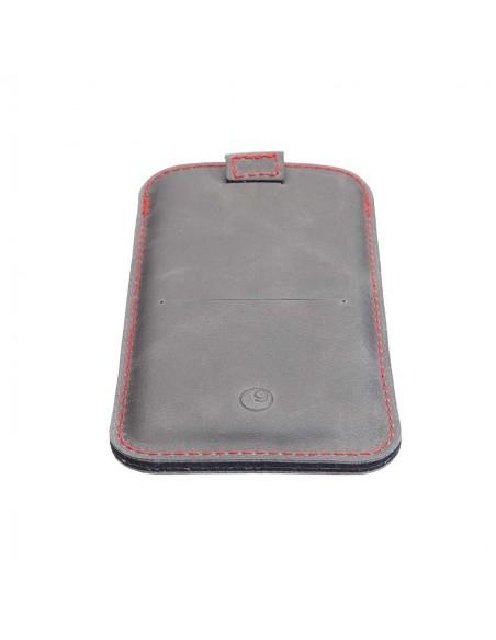 iPhone 12 Pro Lederhülle mit roten Nähten in den Farben grau, schwarz, dunkelbraun und camel