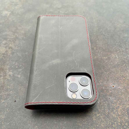 iPhone 12 Pro Max Leather Case  in brown, black, grey and camel leather