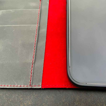 iPhone 12 Pro Max Leder Case Leder – Cover und Portemonnaie in dunkelbraun, camel, schwarz und grau