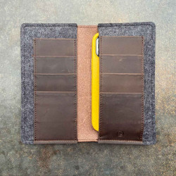 iPhone 13 wallet made from finest leather & felt - elegant combination of case & etui - made in Germany