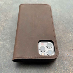 iPhone 12 Mini Leather Folio Case in black, dark brown, camel and grey