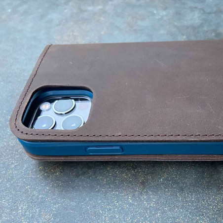 iPhone 12 Mini Leather Folio Case in black, dark brown, camel and grey