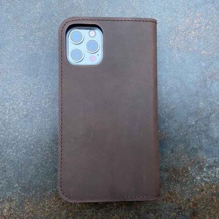 iPhone 12 Mini Brieftaschen Case Leder – Case und Portemonnaie in dunkelbraun, camel, schwarz und grau