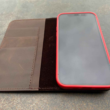 iPhone 12 Pro Leather Folio in dark brown, black, grey and camel