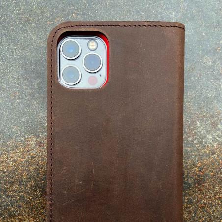 iPhone 12 Pro Leder Folio Case – Cover und Portemonnaie in dunkelbraun, camel, schwarz und grau