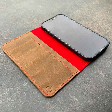 iPhone 12 Pro leather case with integrated biodegradable bumper