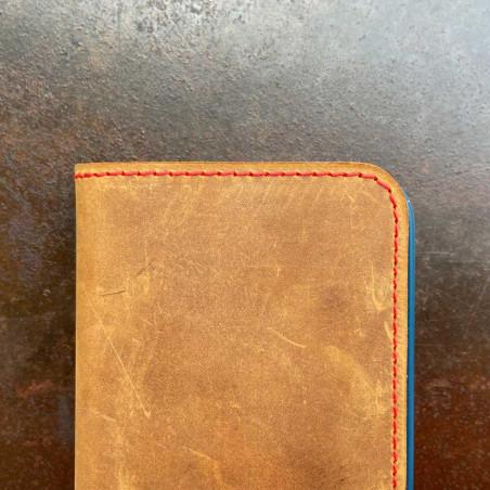 iPhone 12 Folio Case Leder  – Case und Portemonnaie in dunkelbraun, camel, schwarz und grau