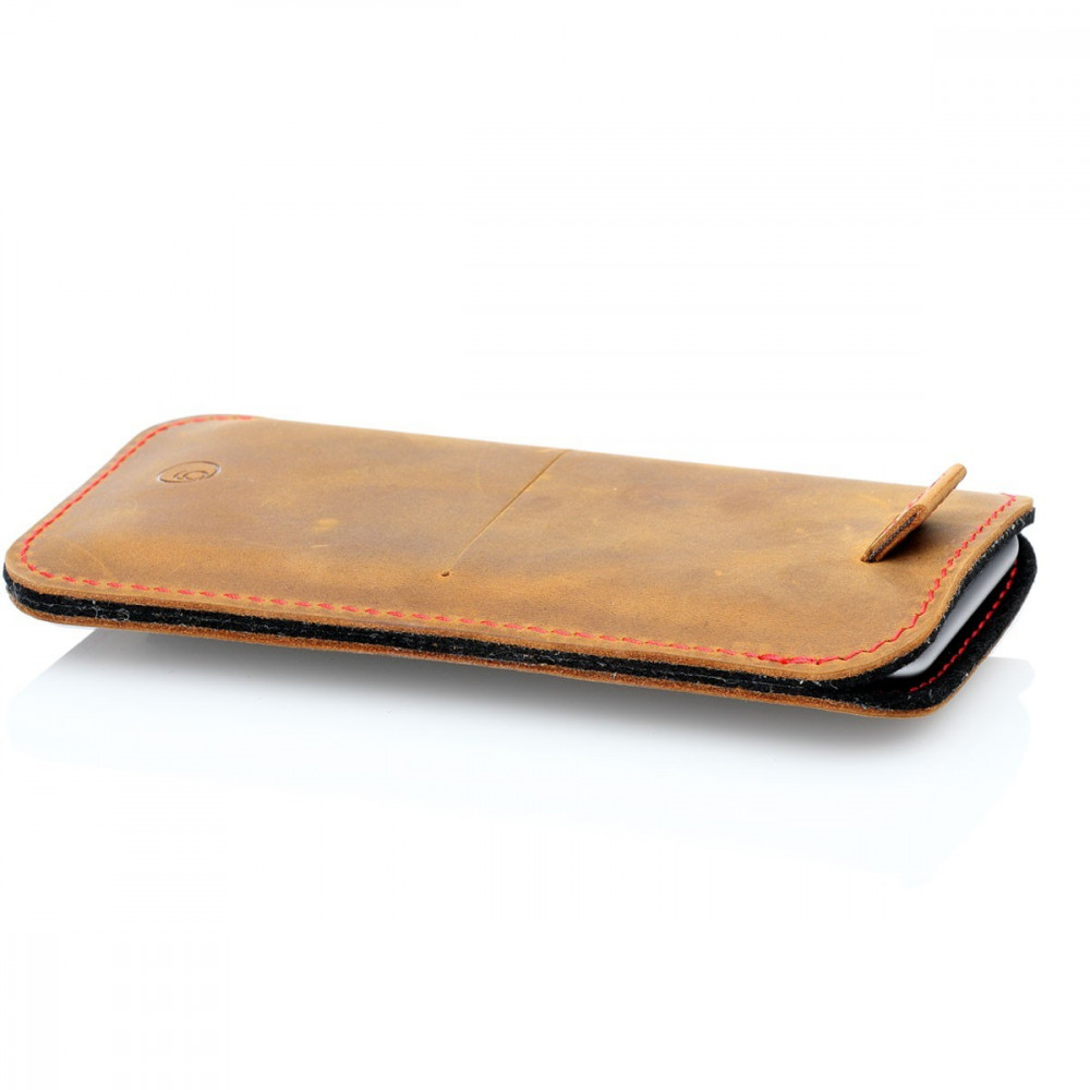 g.4 iPhone 13 Pro Max Leather Sleeve in camel, dark brown, grey and black