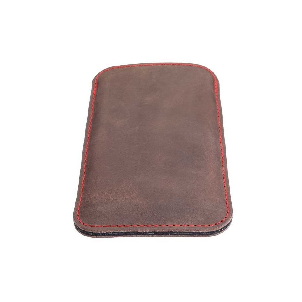 Perfect fitting iPhone 13 leather sleeve in earth, night, vintage and stone - made in Germany