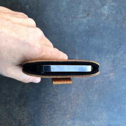 g.4 iPhone 13 Mini Lederhülle aus pflanzlich gegerbtem Leder und Filz  in dunkelbraun, camel schwarz und grau - made in Germany