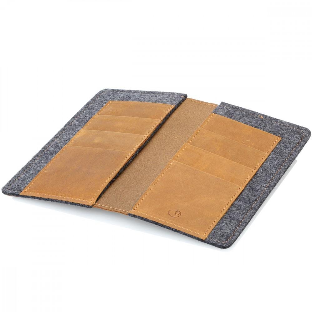 g.5 iPhone 13 mini Brieftaschen-Etui Leder in dunkel braun, hellbraun, schwarz und grau