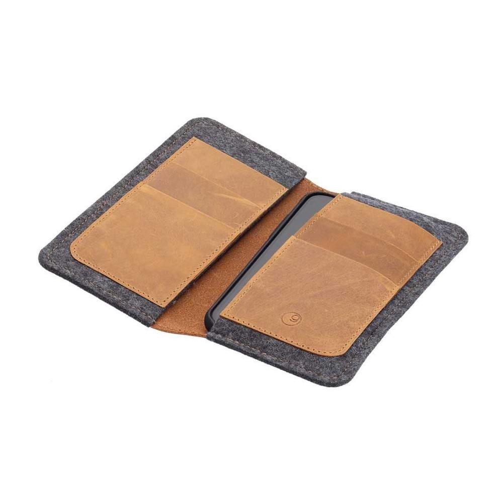 g.5 iPhone 12 Folio Leder - Brieftasche und iPhone 12 Case in einem, verfügbar in schwarz, dunkelbraun, camel & grau