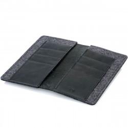 g.5 iPhone 13 Pro Brieftaschen Etui Wallet in Echtleder schwarz, grau, dunkelbraun und hellbraun