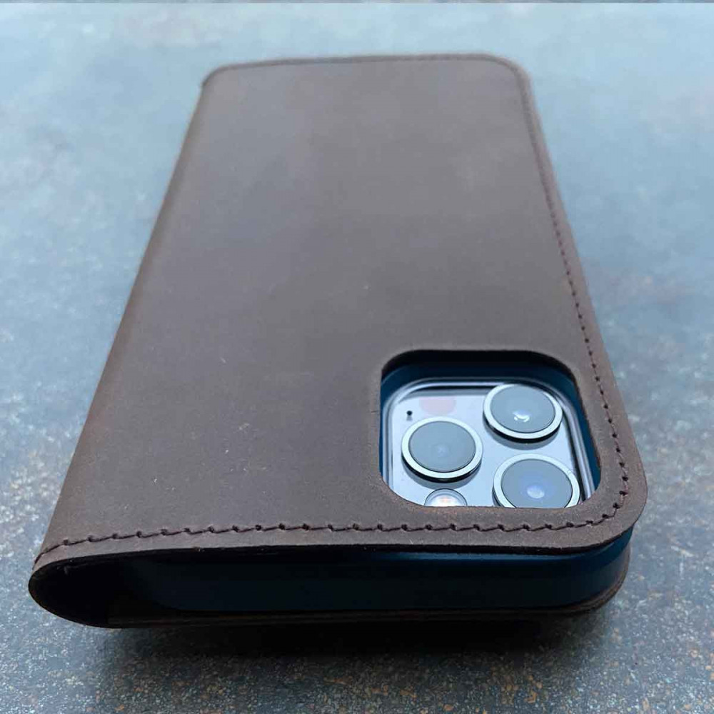 iPhone 13 mini leather case - folio & wallet in dark brown, black, grey and camel