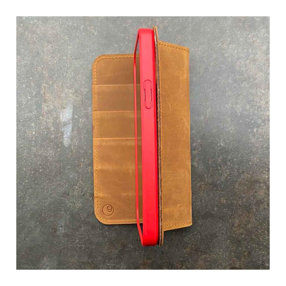iPhone 13 Ledercase – Case und gleichzeitig Wallet in dunkelbraun, camel, schwarz und grau Echtleder