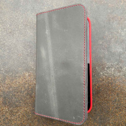 iPhone 13 Pro Folio Leather & Bio Case - lining in red, leather color in black, dark brown, camel & grey - made in Germany