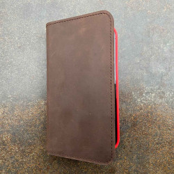 iPhone 13 Pro Leather Case in dark brown, black, grey and camel - Folio wallet made in Germany