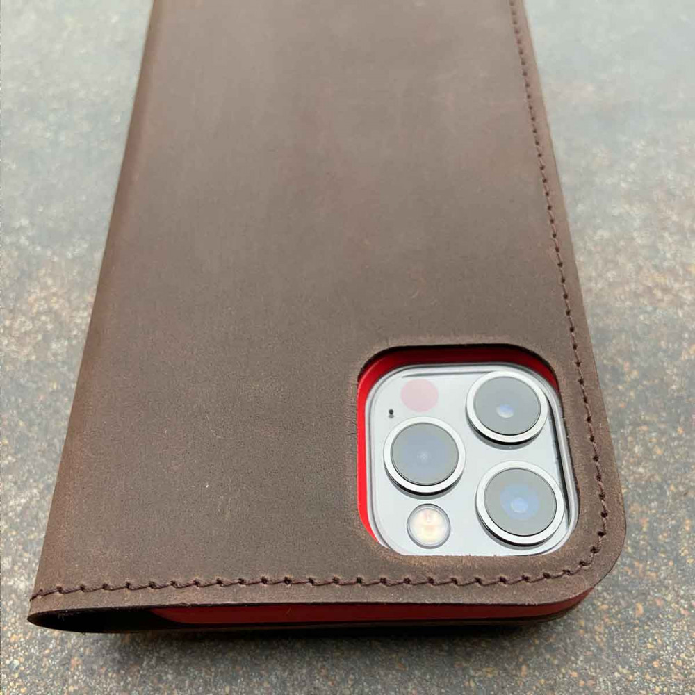 iPhone 13 Pro Max Leather Folio - Case & wallet in dark brown, black, grey and camel - made in Germany