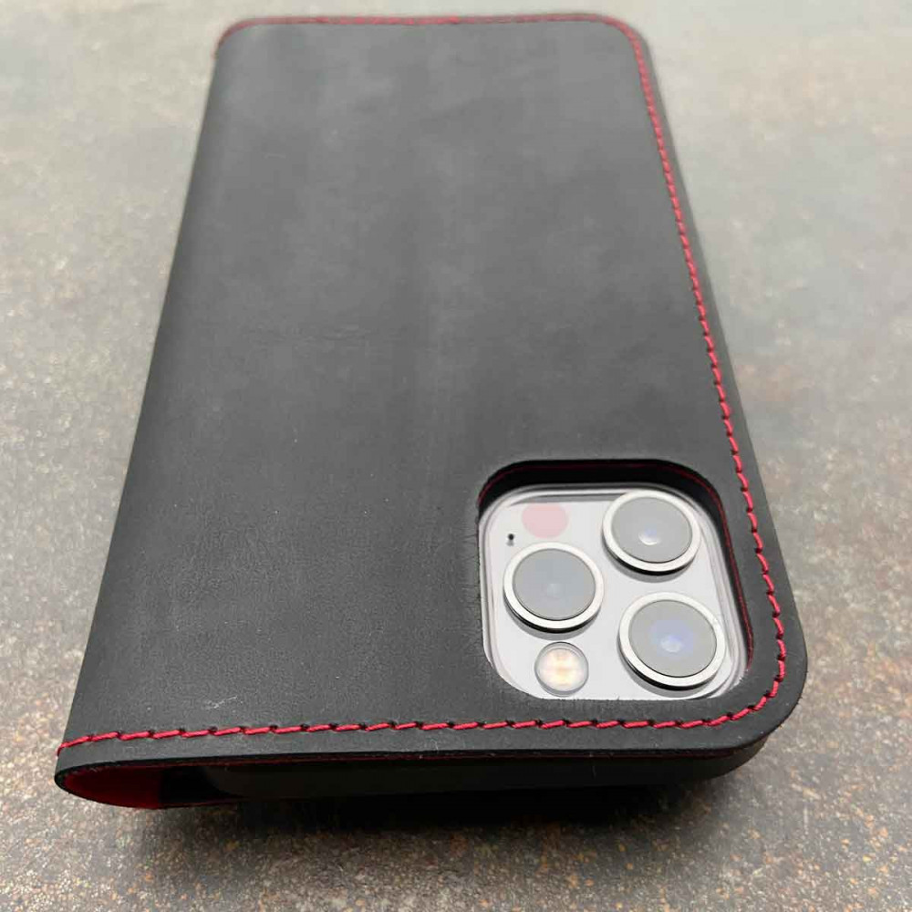 iPhone 13 Folio Leather – Case & Wallet in one in dark brown, camel, black and grey - made in Germany